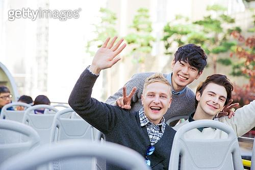 외국인, 백인, 서울 (대한민국), 여행, 관광버스 (버스), 만세, 한국인
