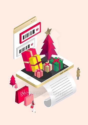 쇼핑, 스마트폰, 모바일쇼핑, 선물 (인조물건), 상업이벤트 (사건), 영수증 (서류), 크리스마스트리 (크리스마스데코레이션), 크리스마스, 쇼핑백, 온라인쇼핑