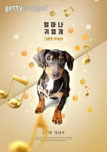 금색, 강아지, 2018, 개띠해 (십이지신), 새해 (홀리데이)