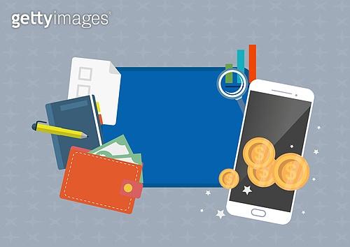 일러스트, 벡터파일 (일러스트), 평면 (물체묘사), 플랫디자인 (이미지), 금융, 은행 (금융빌딩), 가상화폐, 동전 (화폐), 대출, 모바일뱅킹, 인터넷뱅킹 (전자상거래), 스마트폰, 화폐, 온라인쇼핑