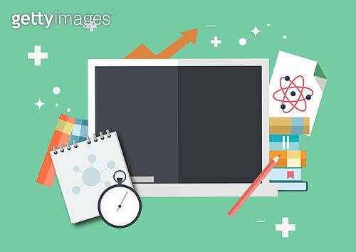 일러스트, 평면 (물체묘사), 아이콘, 교육 (주제), 학교건물 (교육시설), 학원, 공부, 스마트폰, 디지털태블릿 (개인용컴퓨터), 노트북, 노트, 연필, 책
