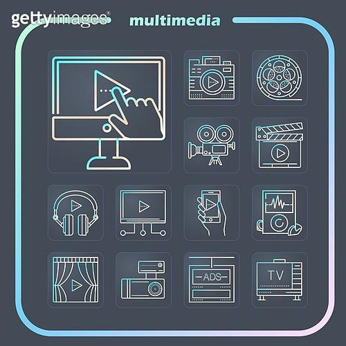 아이콘, 모바일아이콘, 라인아이콘, 픽토그램, 멀티미디어, 문화와예술, 라이프스타일 (주제), 음악, 영화, 방송, 정보매체 (정보장비)