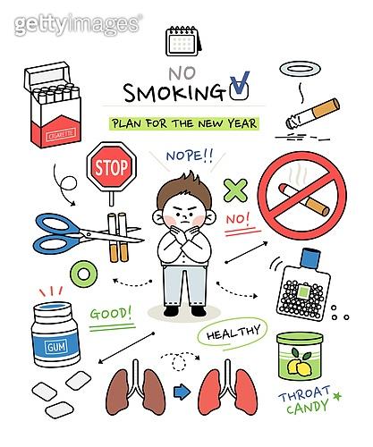 캐릭터 (컨셉), 라인아트 (일러스트기법), 라이프스타일, 버킷리스트, 성취 (성공), 금연 (흡연문제), 담배제품 (인조물건)