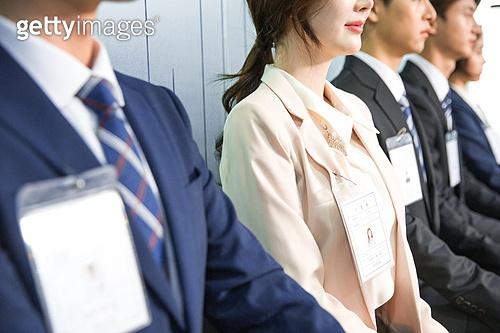 한국인, 구직 (실업), 취업면접, 채용 (고용문제), 기다림, 대기실 (공공건물), 일렬 (배열), 긴장감, 블라인드채용 (채용)