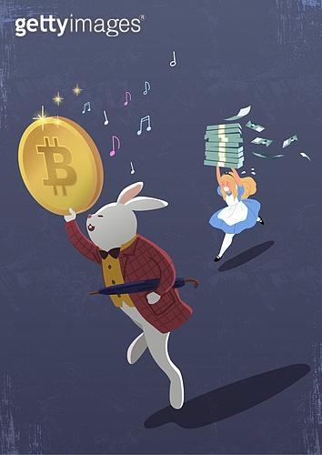 비트코인, 가상화폐, 블록체인, 금융, 화폐, 토끼 (토끼목), 동전 (화폐), 화폐 (금융아이템), 지폐