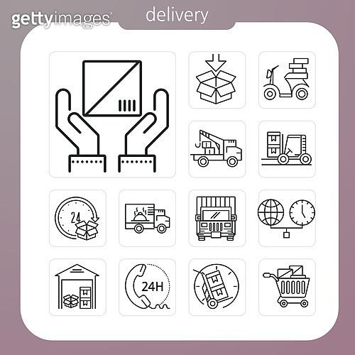 아이콘, 아이콘세트 (아이콘), 웹아이콘, 모바일어플리케이션 (인터넷), 픽토그램, 라인아이콘, 소포 (포장), 배달 (일), 쇼핑, 교통수단, 총알배송 (배달), 우편 (커뮤니케이션), 쇼핑카트 (소매업장비), 서비스 (컨셉)