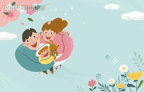 가족, 봄, 라이프스타일, 꽃, 행복, 부모, 어린이 (인간의나이), 탑앵글 (뷰포인트)
