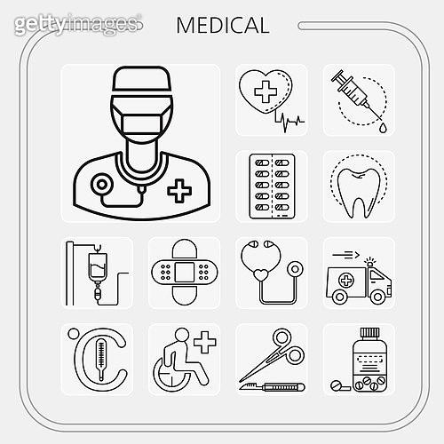 아이콘, 아이콘세트 (아이콘), 라인아이콘, 약 (의료품), 의료행위 (사건), 의학 (과학), 병원, 진찰 (의료행위), 의사, 약, 청진기, 수술 (의료행위)