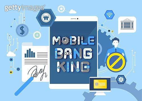 비즈니스, 기술, 4차산업혁명 (산업혁명), 타이포, 모바일뱅킹 (인터넷뱅킹), 휴대폰 (전화기), 스마트폰, 보안 (컨셉), 은행 (금융빌딩), 온라인쇼핑