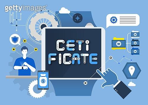 비즈니스, 기술, 4차산업혁명 (산업혁명), 타이포, 디지털태블릿 (개인용컴퓨터), 태엽, 말풍선