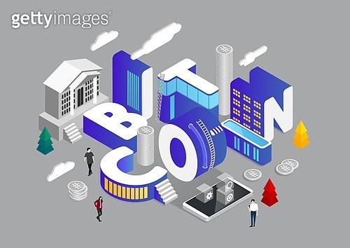 4차산업혁명 (산업혁명), 기술, 타이포, 미니어쳐, 비트코인, 전자화폐, 스마트폰