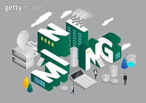 4차산업혁명 (산업혁명), 기술, 타이포, 미니어쳐, 비트코인, 계산기