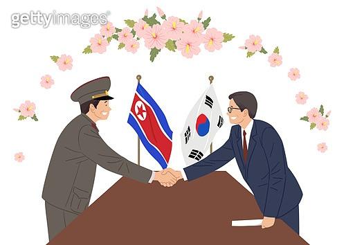 평화, 남북통일, 통일, 화해, 무궁화, 악수, 북한기, 태극기