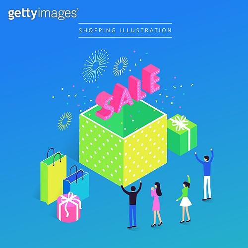 상업이벤트 (사건), 쇼핑, 세일 (사건), 아이소메트릭 (구도), 선물 (인조물건), 불꽃놀이