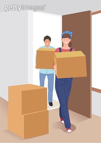 라이프스타일, 이사, 주택문제, 부부, 상자