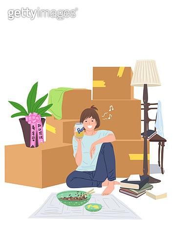 라이프스타일, 이사, 주택문제, 독립, 상자, 스탠드, 맥주, 자장면 (면)