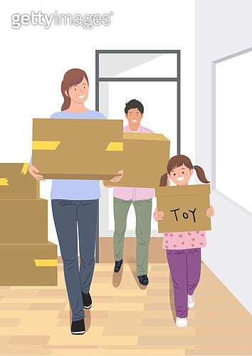 라이프스타일, 이사, 주택문제, 부부, 상자, 어린이 (인간의나이)