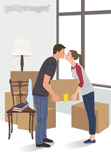 라이프스타일, 이사, 주택문제, 부부, 스탠드, 키스 (입사용)