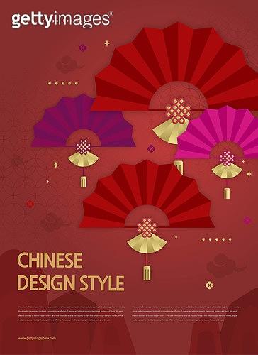 중국 (동아시아), 중국문화 (세계문화), 패턴 (묘사), 전통문양, 기하학모양 (도형), 포스터, 부채 (액세서리)