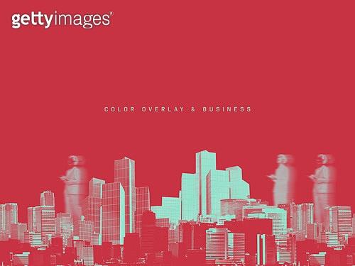 비즈니스, 도시, 고층빌딩 (회사건물), 겹치다, 컬러풀, 바쁨, 변화