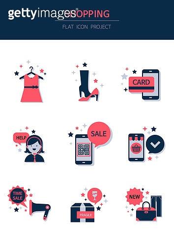 아이콘, 아이콘세트 (아이콘), 뷰티, 평면 (물체묘사), 플랫아이콘, 쇼핑, 쇼핑몰, 휴대폰 (전화기), 쿠폰, 신용카드, QR코드 (코딩)