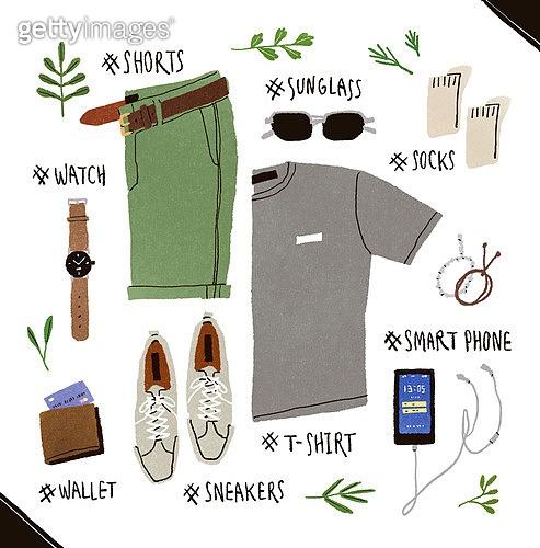 남성복, 패션, 손그림, 액세서리 (인조물건), 반바지 (의복), 캔버스화 (신발)
