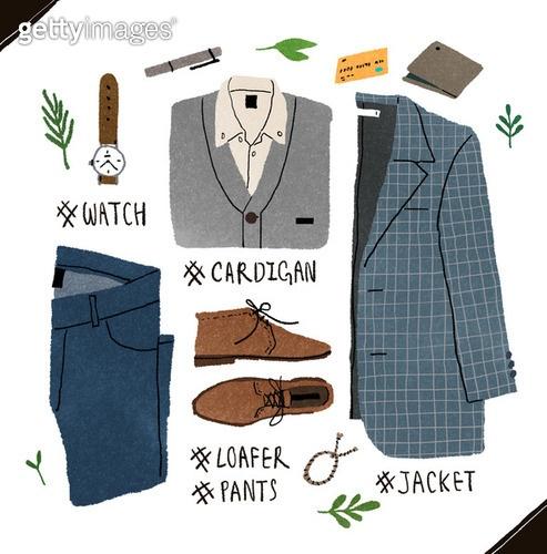 남성복, 패션, 오브젝트, 손그림, 옷, 재킷 (코트), 로퍼