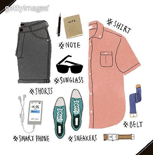 남성복, 패션, 오브젝트, 손그림, 옷, 셔츠 (상의), 선글라스, 캔버스화 (신발), 스마트폰
