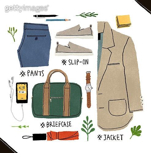 남성복, 패션, 오브젝트, 손그림, 옷, 시계, 슬립온, 스마트폰, 우산 (액세서리)