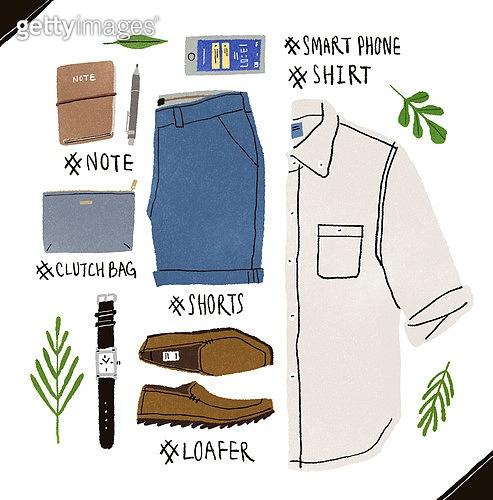 남성복, 패션, 오브젝트, 손그림, 옷, 반바지 (의복), 클러치백 (핸드백), 로퍼, 스마트폰