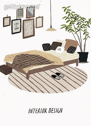 인테리어, 집꾸미기 (집수리), 가구, 집, 목재 (재료), 침실, 침대, 액자 (예술도구), 화분, 러그