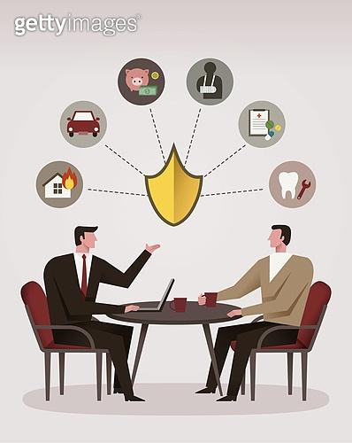 비즈니스, 조언 (컨셉), 고객서비스상담원 (전화업무), 보험 (사고보험), 보험설계사 (금융직), 소파, 방패