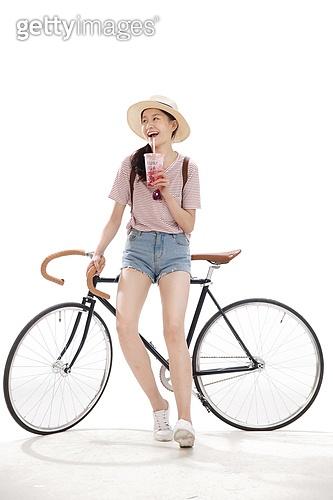 Young girls cycling
