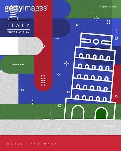 랜드마크, 기하학모양 (도형), 패턴, 도형, 컬러풀, 이탈리아 (남부유럽), 피사의사탑
