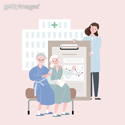 라이프스타일, 은퇴 (주제), 노인 (성인), 노인커플 (이성커플), 건강관리 (주제), 건강검진, 병원