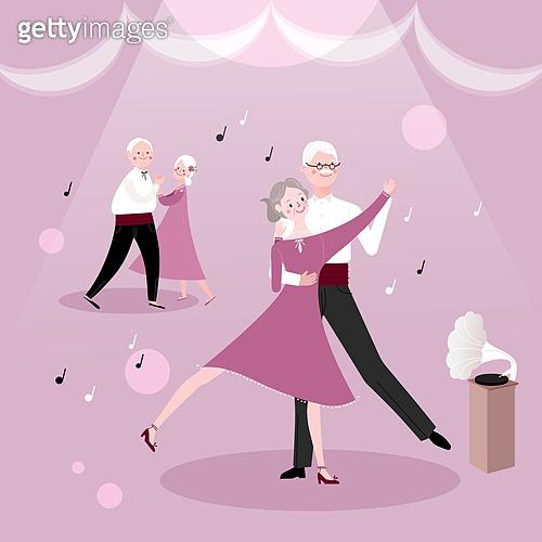 라이프스타일, 은퇴 (주제), 노인 (성인), 노인커플 (이성커플), 취미, 춤, 댄스교실 (스튜디오)