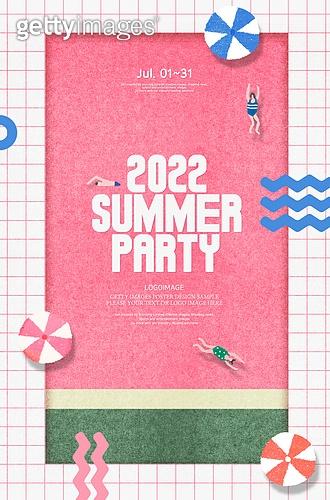 여름, 계절, 휴가, 포스터, 파티, 전통축제 (홀리데이)