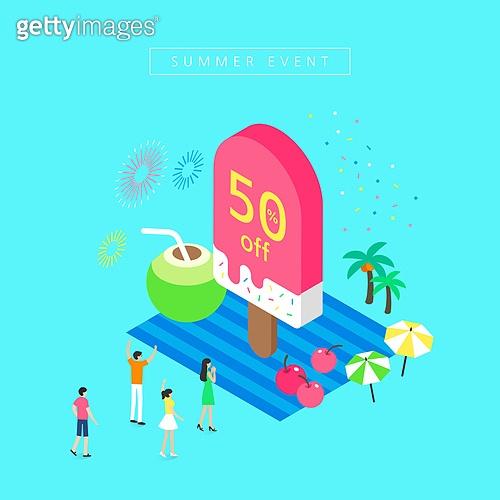 아이소메트릭 (구도), 여름, 미니어쳐, 상업이벤트 (사건), 세일 (사건), 아이스크림, 코코넛 (열대과일), 야자나무 (열대나무)
