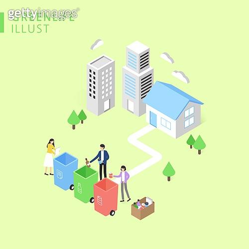 아이소메트릭 (구도), 환경보호 (환경), 캠페인, 재활용 (환경보호), 환경, 쓰레기통, 쓰레기 (물체묘사)