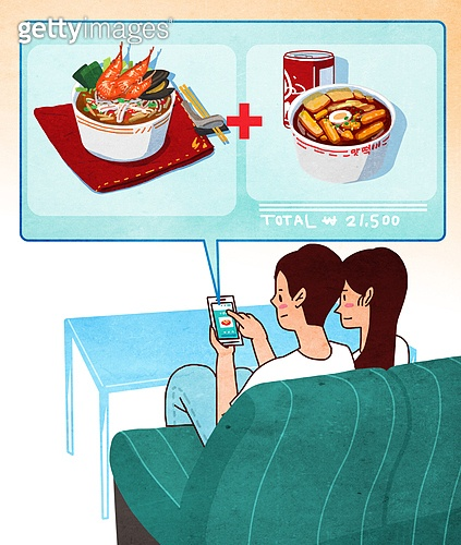 배달음식, 배달, 라이프스타일, 스마트폰, 모바일어플리케이션 (인터넷), 배달 (일), 짬뽕, 떡볶이 (분식), 커플