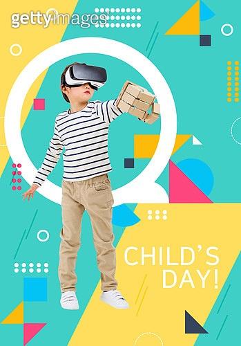 편집디자인, 그래픽이미지 (Computer Graphics), 포스터, 도형, 어린이 (인간의나이), 초등학생, 취미 (주제), 교육 (주제), VR기기 (가상현실시뮬레이터)