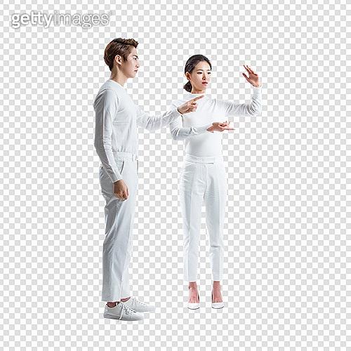 파워포인트 (이미지), PNG, 누끼, 비즈니스, 가상현실시뮬레이터 (컴퓨터장비), 초현대적 (컨셉), 손짓, 흰색 (색상), 행동 (모션), 남성, 여성