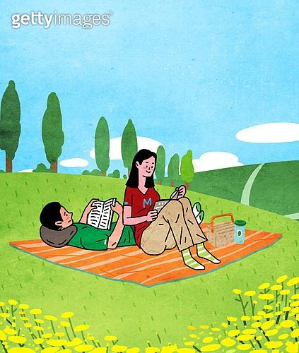 라이프스타일, 읽기 (응시), 책, 휴가 (주제), 취미, 잔디밭 (경작지), 커플, 돗자리