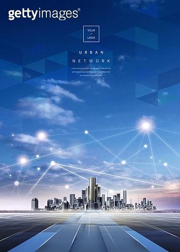 그래픽이미지 (Computer Graphics), 합성, 도시, 야경, 비즈니스, 컴퓨터네트워크 (컴퓨터장비), 5G, 4차산업혁명 (산업혁명), 강렬한빛 (발광)