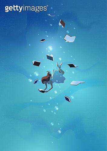 환상 (컨셉), 동화, 백그라운드, 사람, 상상력 (컨셉), 책, 읽기 (응시), 여성 (성별), 수중 (Setting)