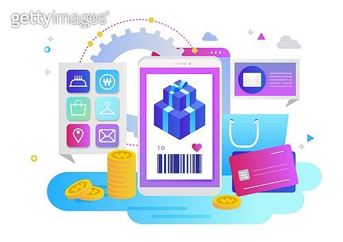 스마트폰, 모바일어플리케이션 (인터넷), 예매 (움직이는활동), 예매, 쇼핑 (상업활동), 선물상자, 신용카드, 쇼핑백, 기프트콘 (선물)