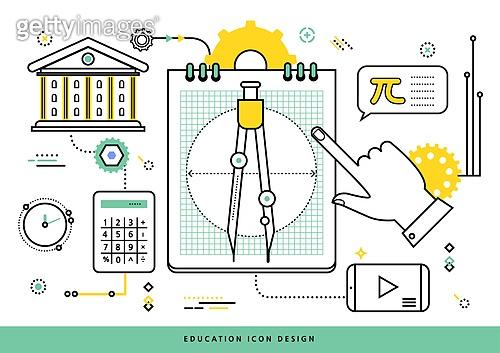 교육 (주제), 점선 (묘사), 라인아트 (일러스트기법), 사람손 (주요신체부분), 수학, 제도콤파스 (측정도구), 계산기