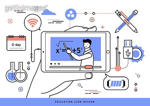 교육 (주제), 점선 (묘사), 라인아트 (일러스트기법), 사람손 (주요신체부분), 스마트폰, 인터넷강의, 강사, 수학, 펜 (필기구), USB (컴퓨터부속품)