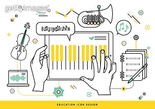 교육 (주제), 점선 (묘사), 라인아트 (일러스트기법), 사람손 (주요신체부분), 예체능, 피아노, 디지털태블릿 (개인용컴퓨터), 악보, 바이올린