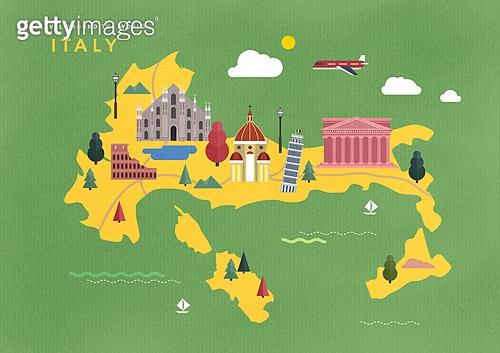 지도, 여행, 랜드마크 (묘사), 세계여행, 이탈리아 (남부유럽), 비행기, 콜로세움, Duomo Santa Maria Del Fiore (플로렌스-이탈리아)